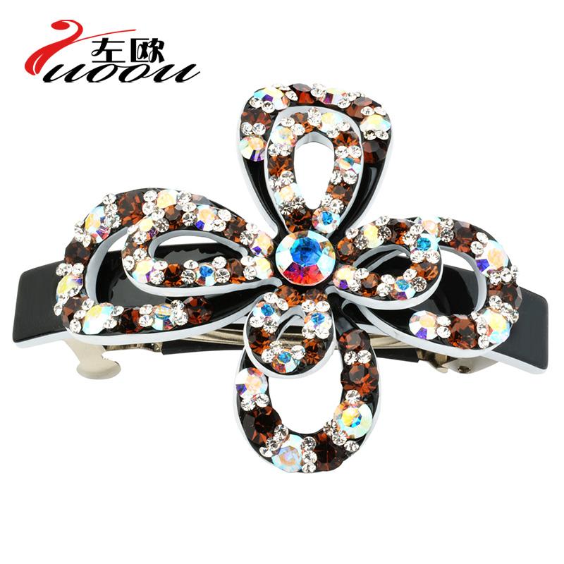 Luxury flower hairpin rhinestone horseshoers spring clip hair pin hair accessory clip hair accessory(China (Mainland))