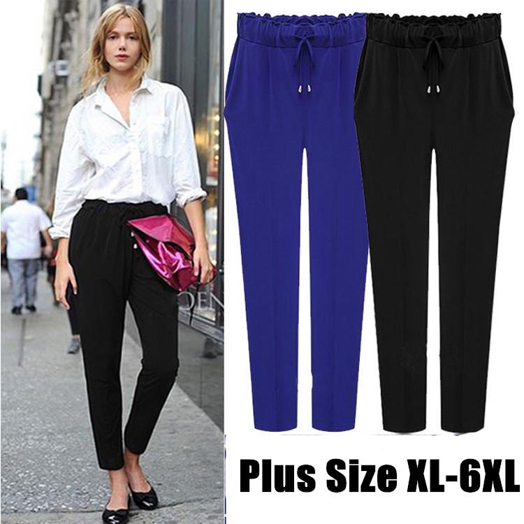 2015 Brand New Fashion Causal Drawstring Elastic Waist Chiffon Loose Harem Pants Plus Size Black Blue Freeshing(China (Mainland))