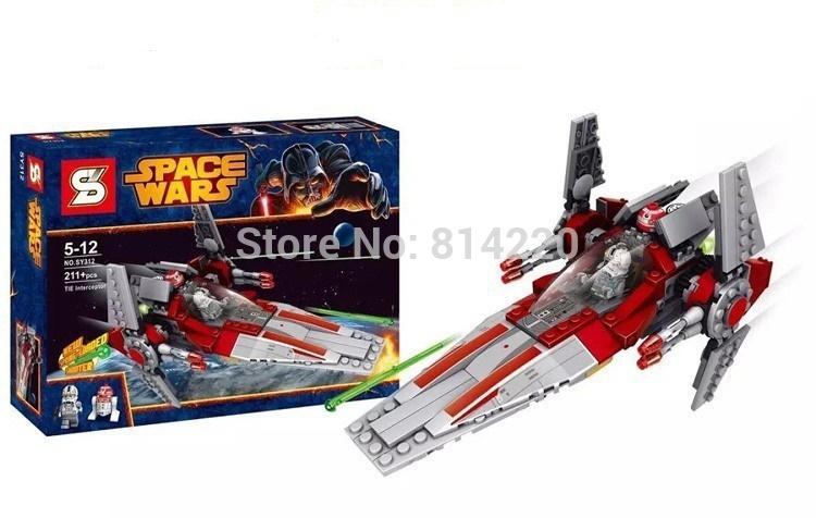 SY312 building blocks 221pcs Star Wars V-Wing Starfighter building brick toys Set w V-Wing Pilot minifigures Astromech Droid(China (Mainland))