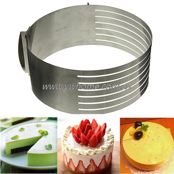 Adjustable Stainless Steel Round Layer Cake Ring Slicer Kit Mousse Slicing Mould Kitchen DIY Tool(China (Mainland))