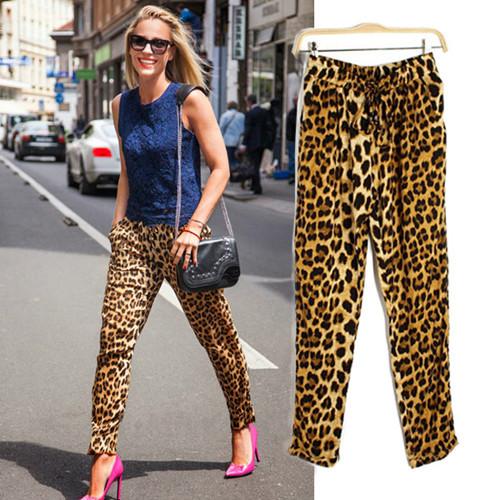 2015 Women Fashion Leopard Pants Casual Women's Loose Cotton Elastic Waist Harem Pants Trousers Large Size XS - XXL New Arrival(China (Mainland))