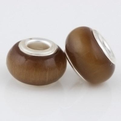 8 14 mm Green Opal Silver Beads Natural Cat Eye Stone European Czech Bead Fit For