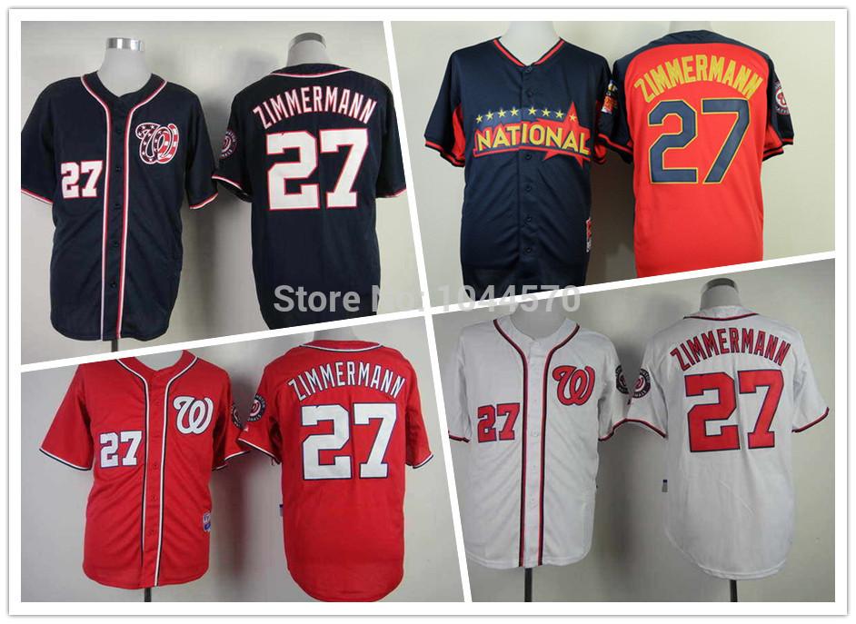 Stitched Jordan Zimmermann Jersey Blue,Red,White Men's #27 Zimmermann cool base 2014 All Star Jersey Washington Baseball Jerseys(China (Mainland))
