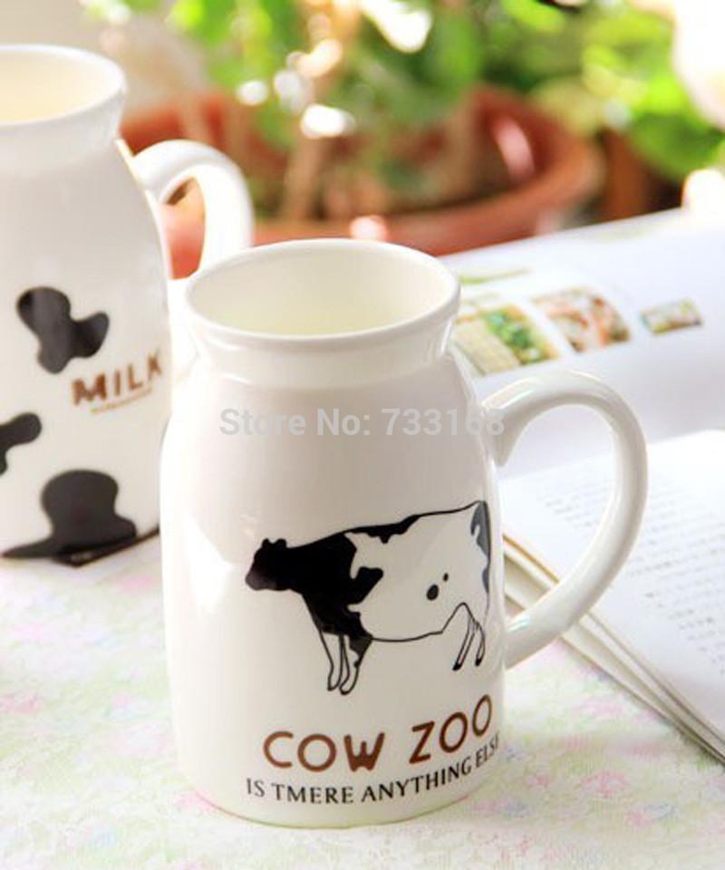 Cow Milk Products Cow Design Ceramic Milk Bottle