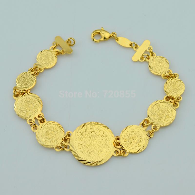 Wholesale 21cm Gold Coin Bracelet Men 22k Yellow Real Gold Filled