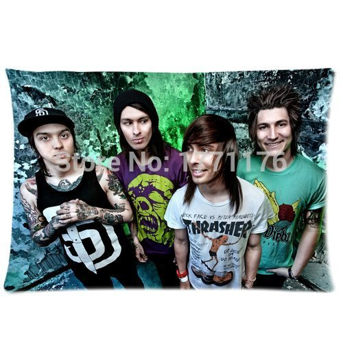 Custom Pierce the Veil Popular Band Pattern Soft Cotton Zippered Pillow Case Cover 20X30 (Twin Sides)(China (Mainland))