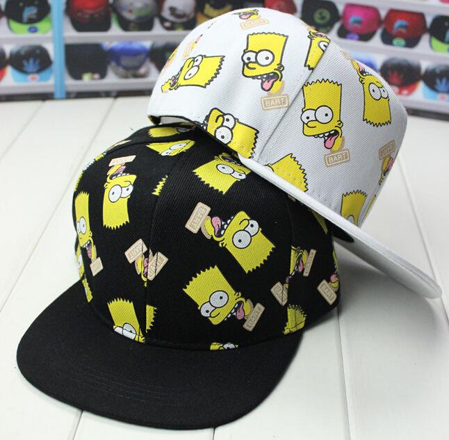 2015New Adult Lovers / Child Cartoon cute baseball cap SpongeBob cartoon Simpson hip hop flat along the hat Parent-child caps(China (Mainland))