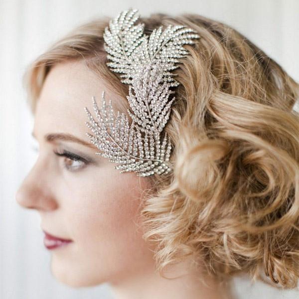 New Bridal Headwear Wedding Hair Accessories Rhinestone Feather Hairpins Head Jewelry