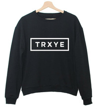 TRXYE Letters Print Women Sweatshirt Jumper Cotton Casual Lady Hoody Hipster Plus Size Street TZ205-881(China (Mainland))