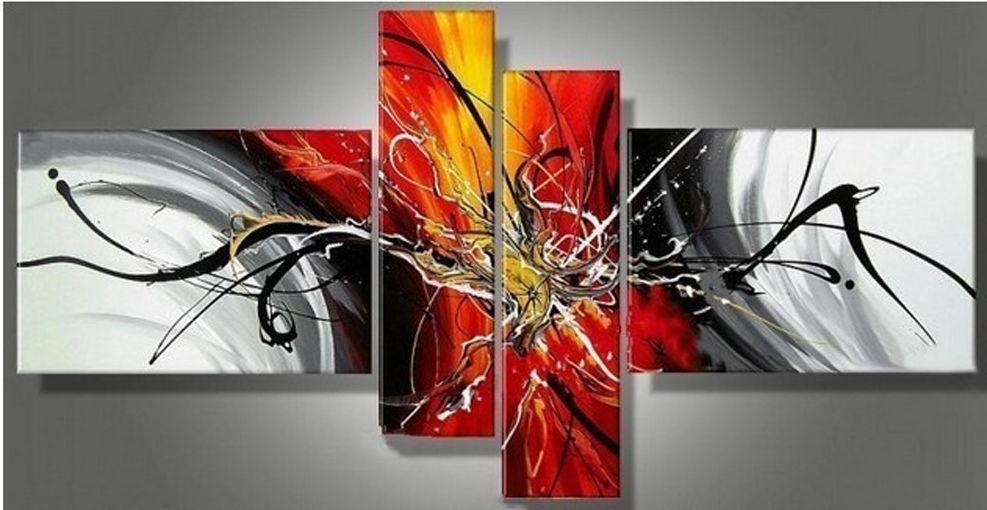 Nouveau 4 pc abstraite moderne immense wall art peinture l 39 huile pas - Nouveau peinture maison ...
