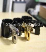 Creative new  design Gold and silver shank gun mug pistol cup mug hot-selling handle mug gift