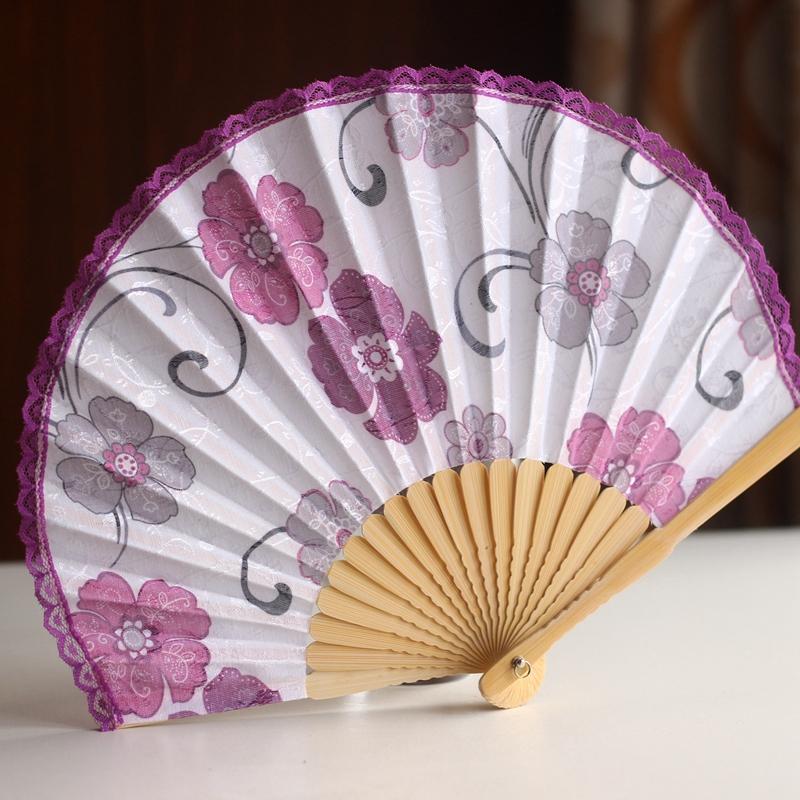 [Limited] Aoi kimono fan-shaped shells fan Japanese fan and wind folding spade child lace blossoming cherry(China (Mainland))