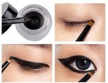 Brand Cosmetic Set Black Liquid Eyeliner Waterproof Eye Liner Pencil Shadow Gel Eyeliner Makeup delineador + Black Brush