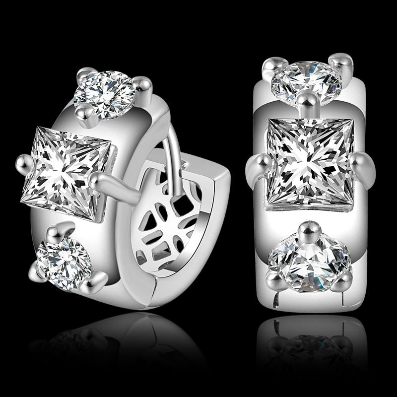 Romantic Jewelry 2015 Stud Earrings For Wedding Elegant Real Platinum Plated AAA Swiss Cubic Zirconia Diamond Earring(China (Mainland))