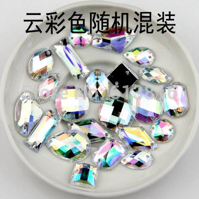 Free Shipping, 100pcs/Lot, mix shape Crystal AB / Clear AB sew on stones flat back Acrylic sew on rhinestones gems DIY(China (Mainland))