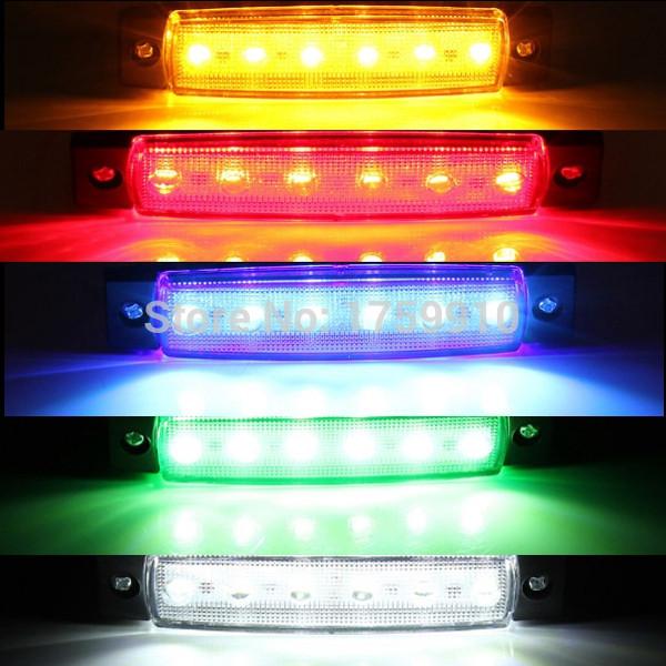 New 5 Color 12V 6 LED Bus Truck Trailer Lorry Side Marker Indicator Light Sidelamp