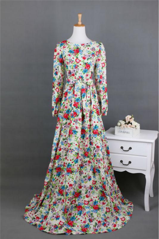 New 2015 Cotton Long Maxi Dress Lantern Sleeve Mopping Floor Length O-neck Vintage Floral Print Dresses Women Elegant Vestidos(China (Mainland))