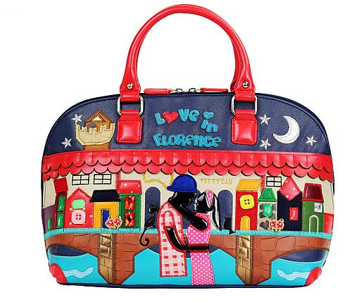 Braccialini style Tottyblu bag night lover embroidery women shoulder bag tote aj bag sac a main borse di marca bolsa feminina(China (Mainland))