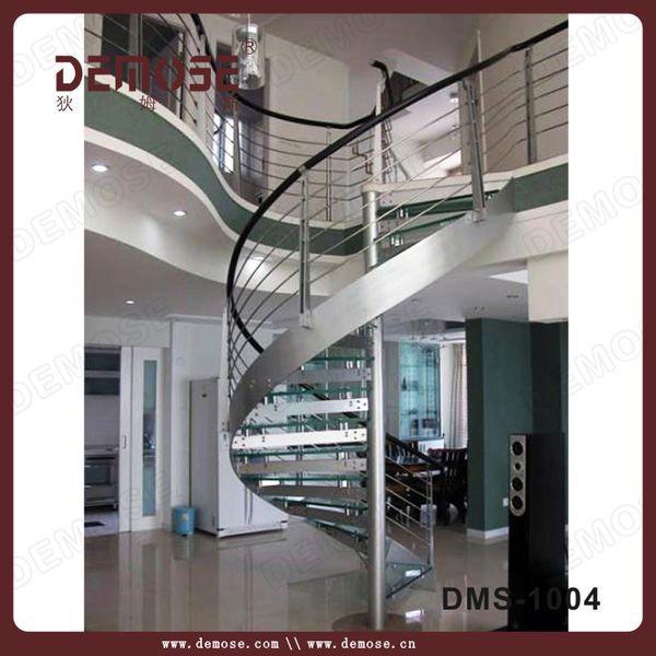Aço decorativa escadas em espiral com degraus de vidro(China (Mainland))