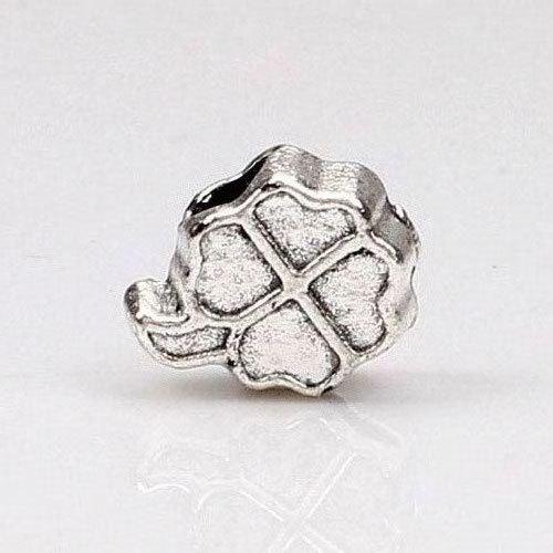 1piece 925 Silver Clover DIY Bead big hole European Beads Fits Silver Charm pandora Bracelets necklaces