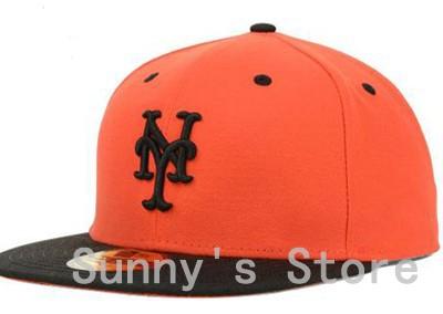 Fashion New York Mets Baseball Fitted Caps NY Letter Sports Team Flat Hats Hip Hop Design Chapeu Bones Orange Top Black Brim(China (Mainland))