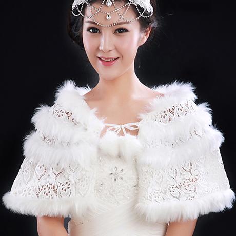 bride lace white cloak flash outerwear autumn and winter wedding dress fur wrap shawl wedding