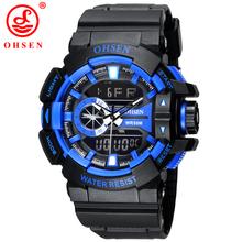 Ohsen marca deportiva Relojes Mens Relojes LED Digital reloj Relogio Masculino moda Casual militar del ejército del cuarzo hombres reloj de pulsera
