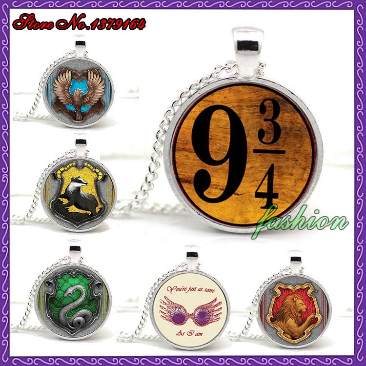 Free Shipping Harry Potter Necklace Platform 9 3/4 Glass Pendant Hogwarts Express Pendant Book jewelry Glass Cabochon Necklace(China (Mainland))