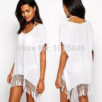 Новый 2015 мода женщины белый шифон кисточкой пляж купальники крышку ибп туника, парео летом купальник прикрыть дамы одежда для пляжа