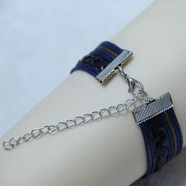 Pushon Vintage Cupid dragonfly 8 18cm Unisex Leather Wrap Bracelet 1 Pc