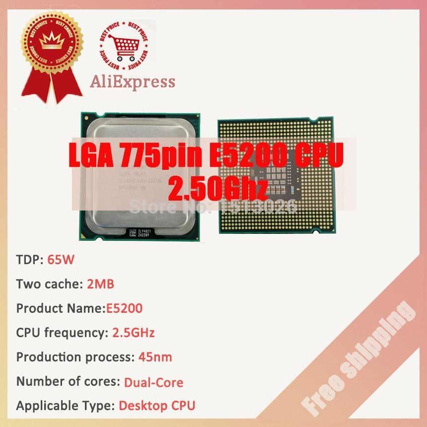 Intel Core 775pin CPU E5200 2.50GHz dual-core desktop CPU E5200 Free shipping(China (Mainland))