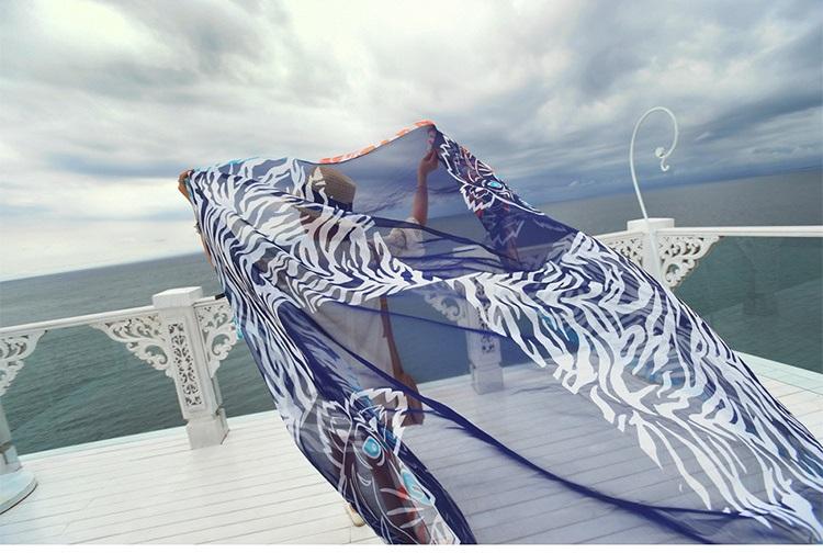 New style spring summer Sunscreen Shawl 180X140cm tiger head Chiffon silk scarves Printing sunscreen Beach towel Women's scarf(China (Mainland))