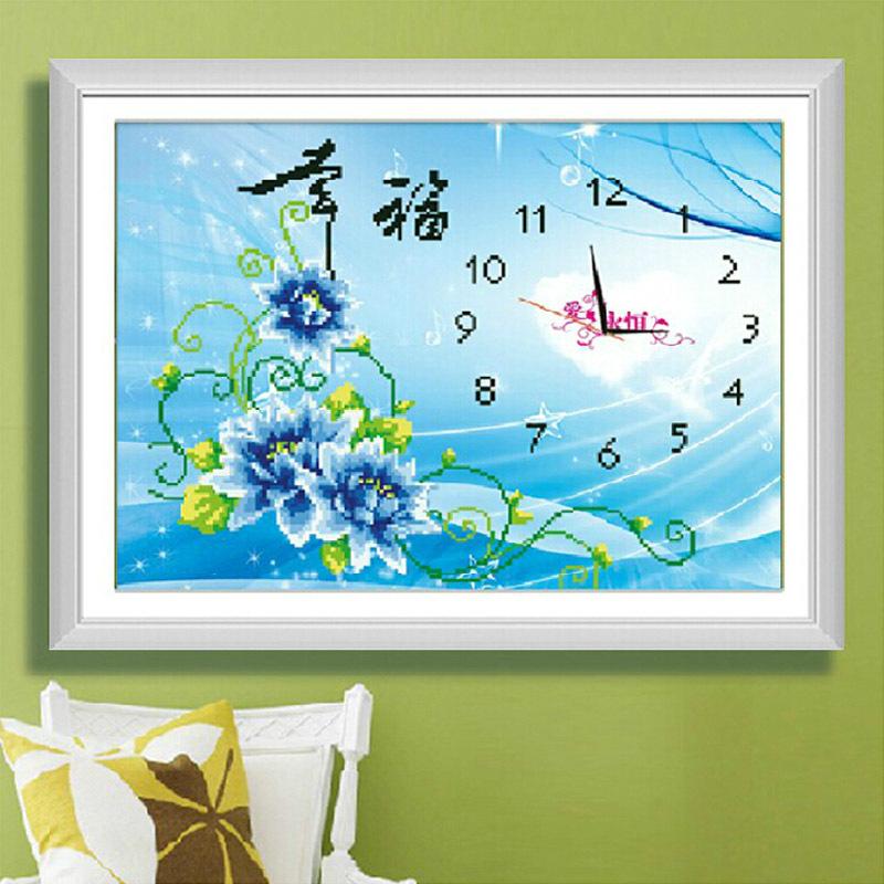 5D Watch Clock Cross Stitch Wall Clock FlowerS Print DIY Diamond Painting Luminous Cross Stitch Sitting Room Bedroom,Free Ship(China (Mainland))