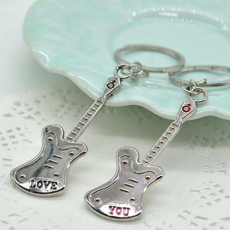 1 Pair Unique Design Small guitar Keyring innovative gadget trinket souvenir Lovers' Key Chain Fashion Jewelry JL*JJ0184*60(China (Mainland))