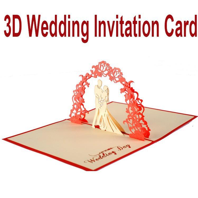 3D Laser Cut estereoscópico Bride & Groom promessa feito à mão saudação casamento convites cartão + Envelope efeito Dimensional cartões(China (Mainland))
