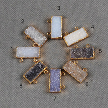 Natural druzy stone for jewelry making, double loops pendants with 24k gold plated in free shipping(China (Mainland))