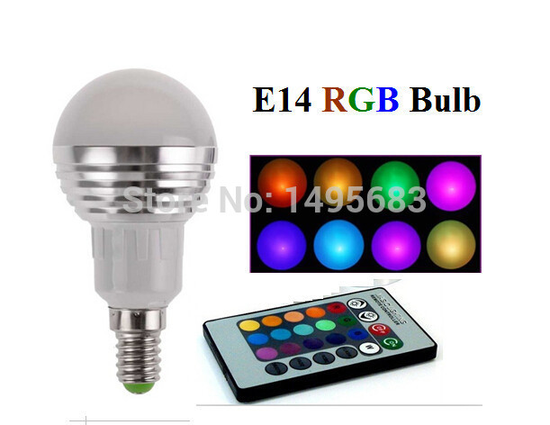 E14 LED RGB 5W 16 Colors Change Lamp Light Bulb+24 key IR Remote Controller Magic Bulb spotlight for Home Party decoration(China (Mainland))