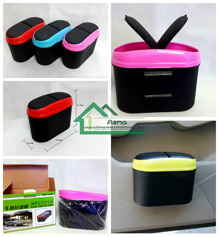 2015FreeShipping Receive a garbage box color box car Car door hanging flip trash can Onboard trash car trash vehicle garbage can(China (Mainland))