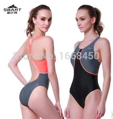 SBART one piece triangle competition training swimsuit waterproof chlorine resistant women's swimwear bathing suit PLUS size(China (Mainland))