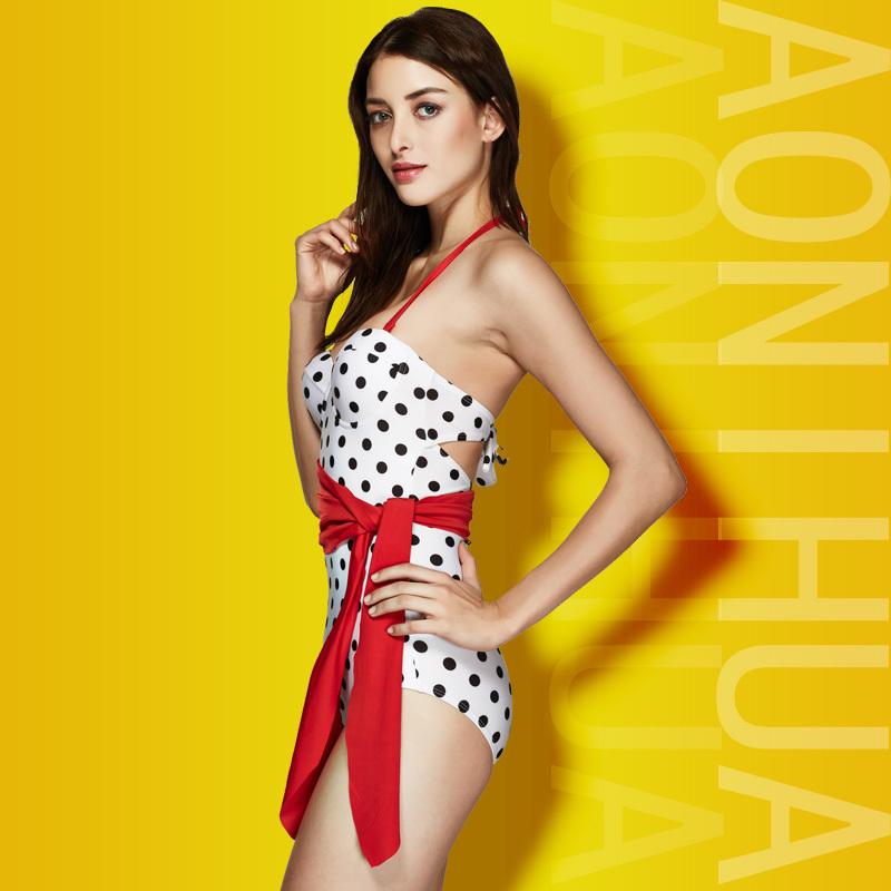 Free shopping One Piece Swimsuit Halter One Piece Swimwear Sexy Monokini Women Bathing Suits Fashion Bandage Beachwear(China (Mainland))