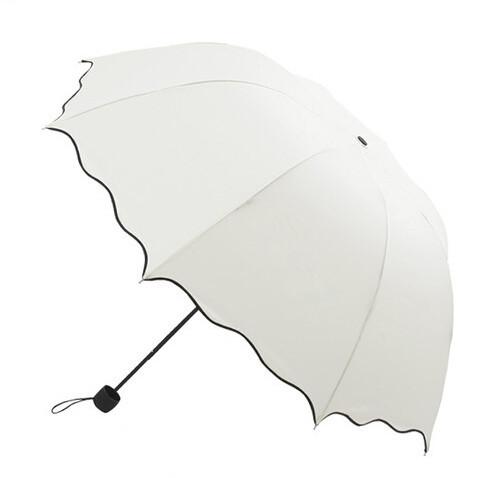 Flouncing раскладной Lotus листья волна принцесса купол зонтик солнце / дождь женщины леди зонтик