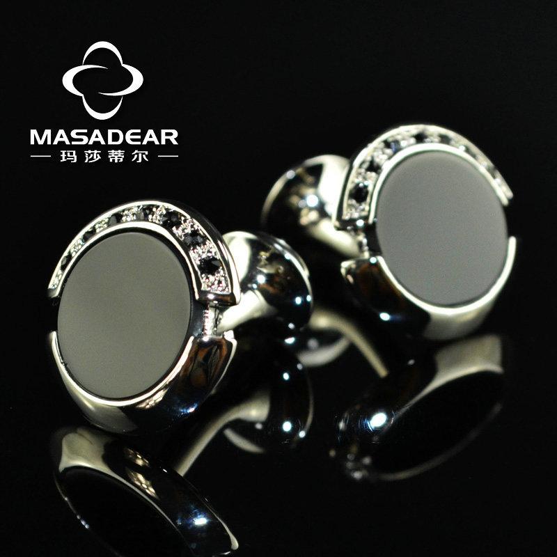 MASADEAR new classic LOGO black flower crystal fashion cufflinks cuff links cufflink nails free shipping 156806(China (Mainland))