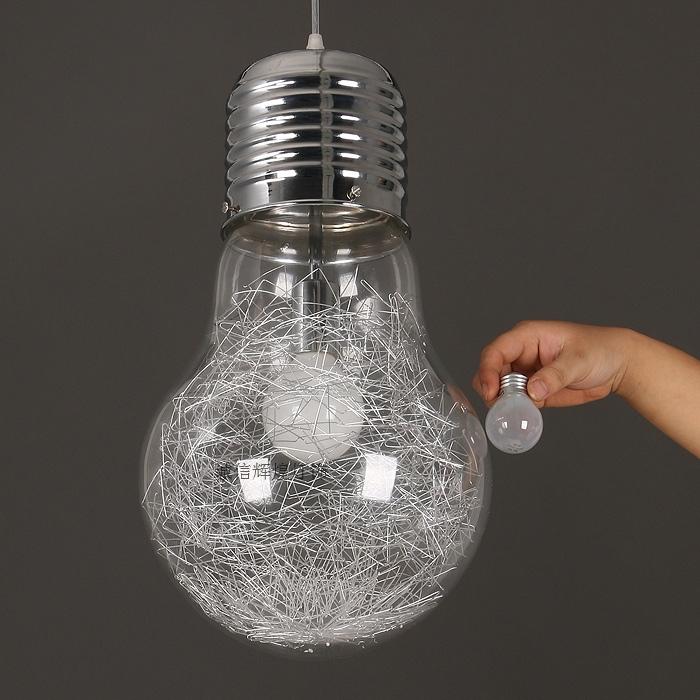 Modern Creative Big Bulb Pendant Light Metal Single-Head Glass Pendant Lamp Aisle Corridor Lamp Restaurant Bar Free Shipping(China (Mainland))