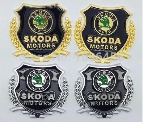 car styling Skoda Superb Octavia Fabia Rapid metal logo sticker modified standard column car accessories(China (Mainland))