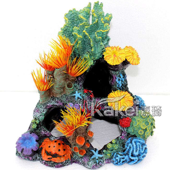 Fish tank aquarium decoration rockery coral resin aquarium crab fish shrimp house hole Artificial plants flower free shipping(China (Mainland))