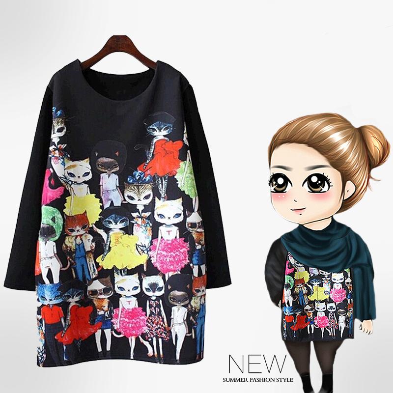 2015 Summer Shirt Print Chiffon Blouse Kimono Blusas Women Clothing Camisa Feminina Vestidos Miss Kitty Pattern Plus Size 4XL(China (Mainland))