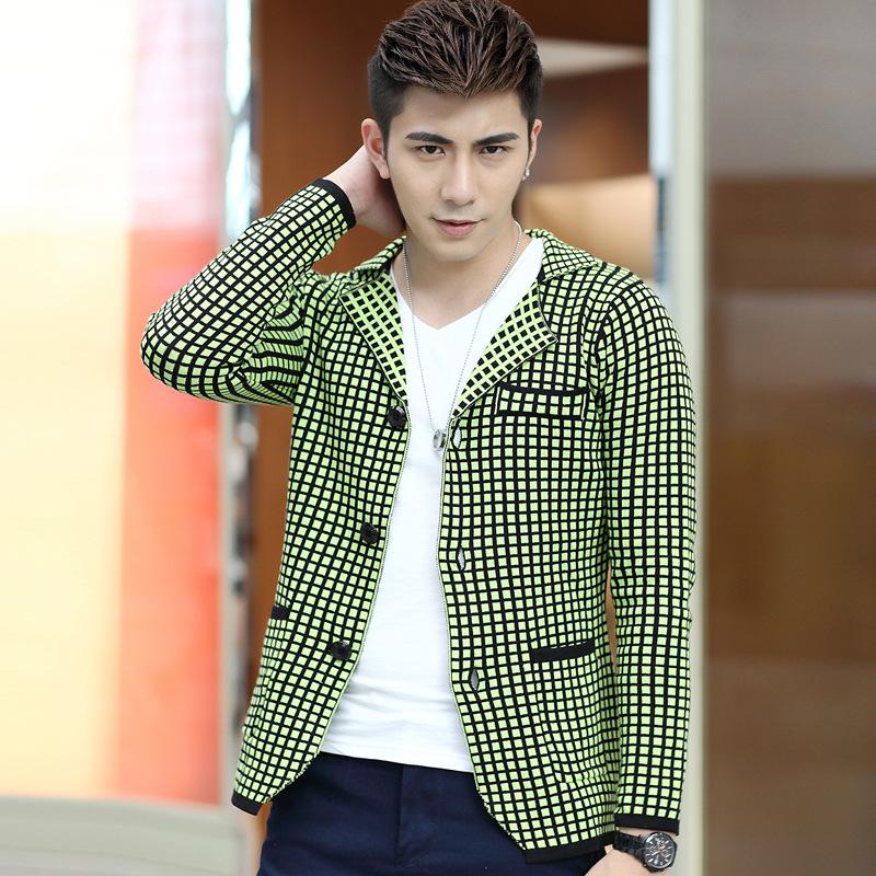 Mens Green Suit Jacket Men Plaid Suit Jacket