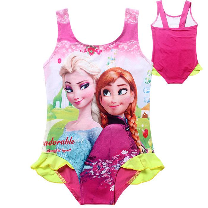 New Arrival Princess Hot Anna&Elsa Swimsuit Baby Girls Swimwear 4-10Y Girl Kids One-Piece Swimwear Swimming Costumes 6606#(China (Mainland))