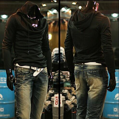 Cotton Hooded Long Sleeve Pullover Plain Mens Hoodies(SKU:1411170053)(China (Mainland))