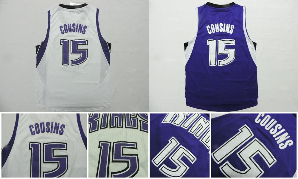 DeMarcus Cousins 2015 New Basketball Jersey,REV 30 Embroidery Logo Jersey DeMarcus Cousins White Blue Basketball Jersey S-XXL(China (Mainland))